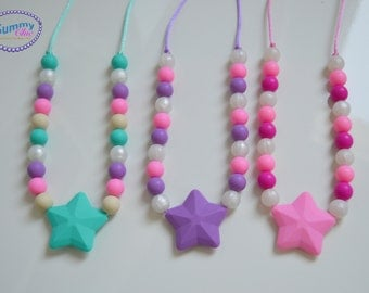 Kid sensory chew necklace - Oral sensory jewelry - Star chewing necklace - Safe jewelry for toddler - GUMMY necklaces - Chewy necklaces