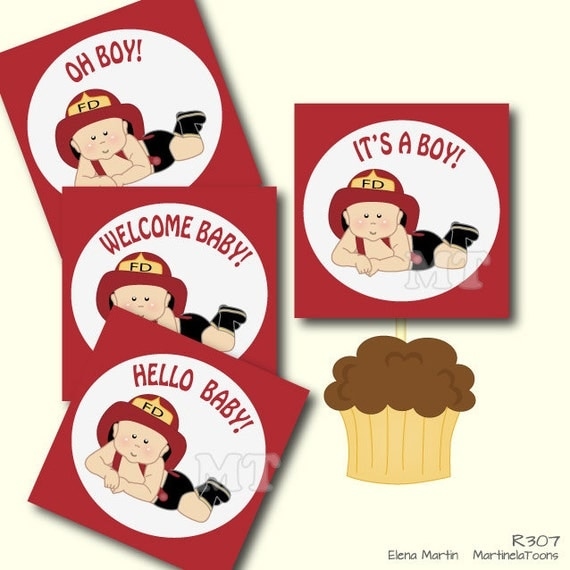 firefighter boy baby shower cupcake toppers red baby shower toppers