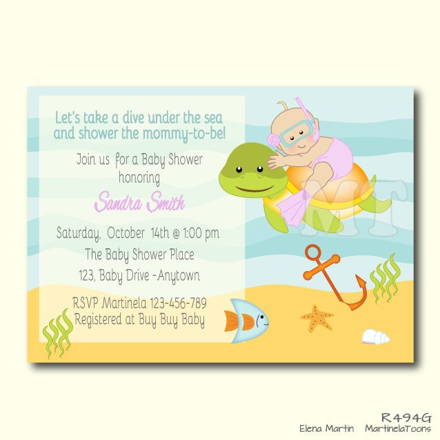 sea turtle invite | etsy, Baby shower invitations
