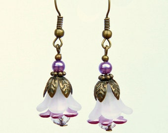 Vintage white Lucite, bronze and pearl drop earrings