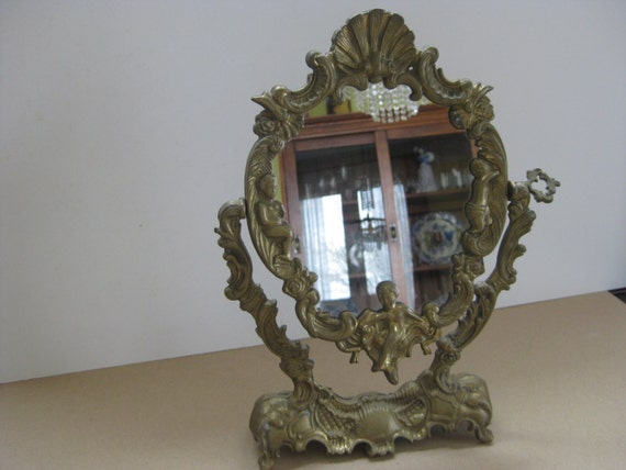 French Antique Small Bronze Oval Vanity Mirror
