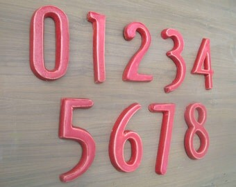 Modern House Numbers - Serpentine Font- Red