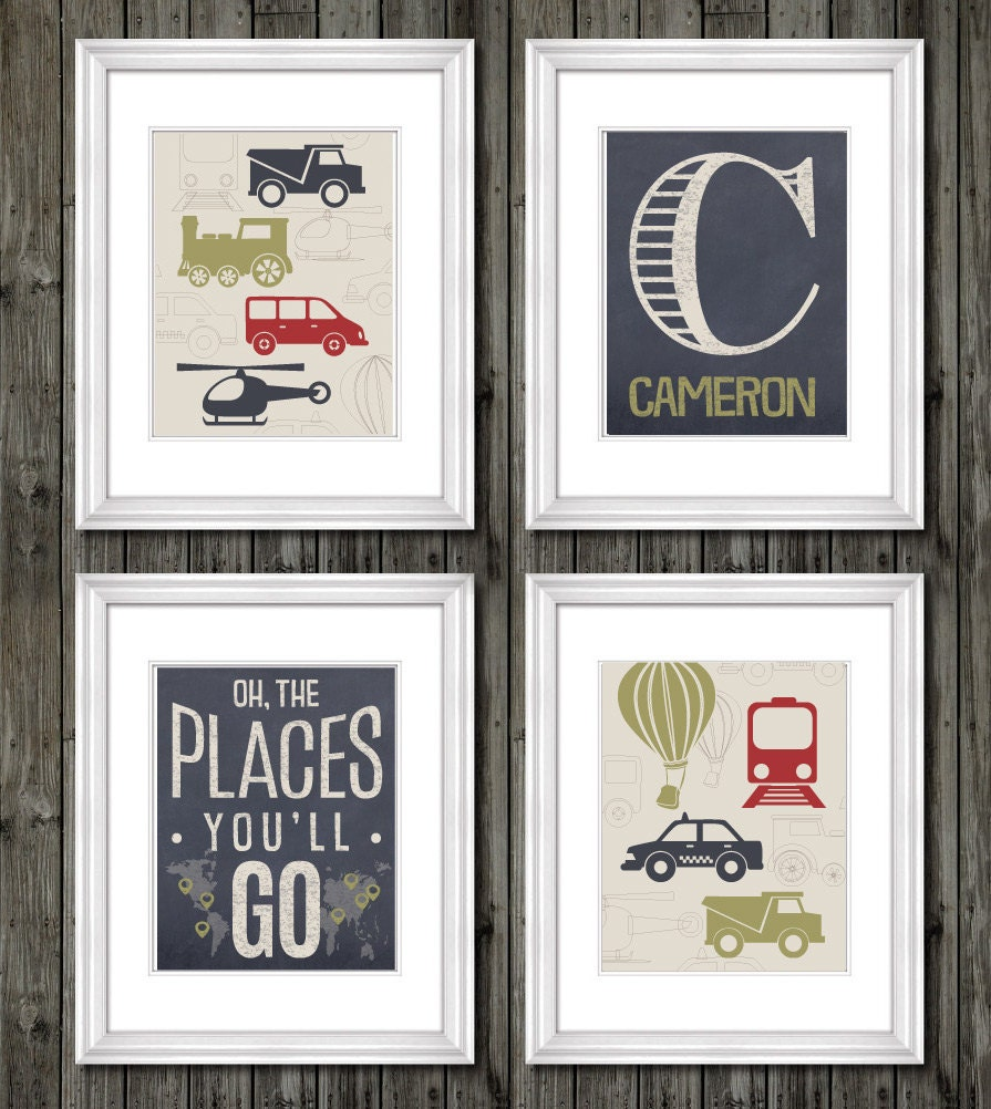 Transportation theme nursery bedroom or playroom boys Vintage childrens room decor
