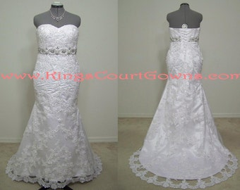 Replica Lace Beaded Trumpet Corset Wedding Dress Gown Chapel Train