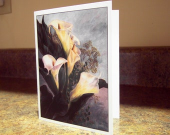 Blank Greeting Card - White Calla Lilies with Queen Anne Lace
