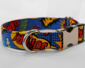 Superhero Sayings Collar |  | Dog Collar | Male Dog Collar | Superhero Dog Collar | Pet Collar | Large Dog Collar | Small Dog Collar