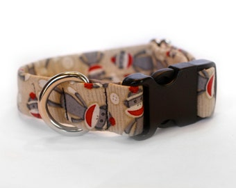Sock Monkey Collar, Pet Collar, Dog Collar, Female Dog Collar, Metal Buckle, Male Dog Collar, Small Dog Collar, Large Dog Collar