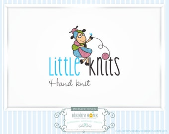 50% OFF SALE Granny Crochet Knitting Logo, Granny Sheep Ball of Yarn Logo, Premade Knitting Logo, Color Variations, Custom Design Logo