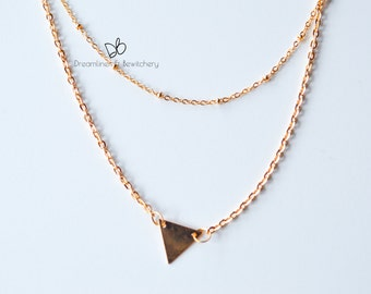 Two Style Layered Chains with Triangle Pendant Gold Necklace