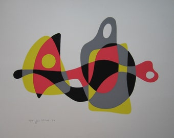Hawk, colorful mid-century modern abstract silkscreen, signed limited edition 1970 print by Jane Mitchell