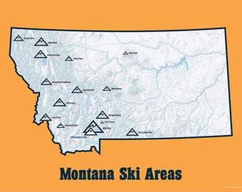 Montana Ski Resorts Map 18x24 Poster