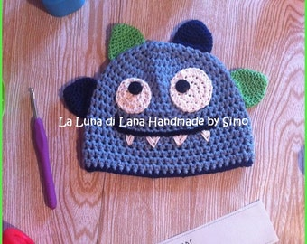 Hat for child or baby shaped Monster Blue