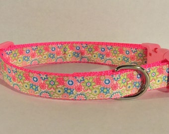 Neon Flowers Dog Collar
