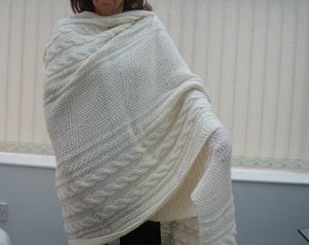 Hand knitted Aran shawl.