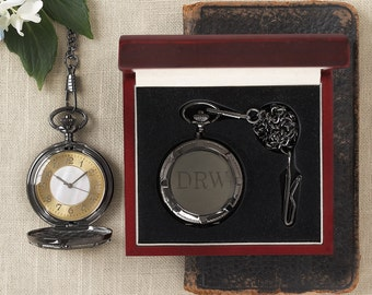 Classic Pocket Watch in Gunmetal Finish (g123-1110) - Free Personalization