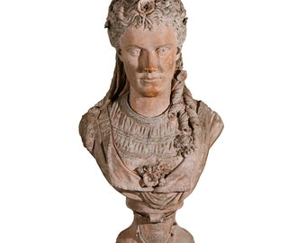 French Terra Cotta Bust of Ophelia