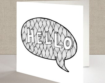 Hello - Square Greetings Card