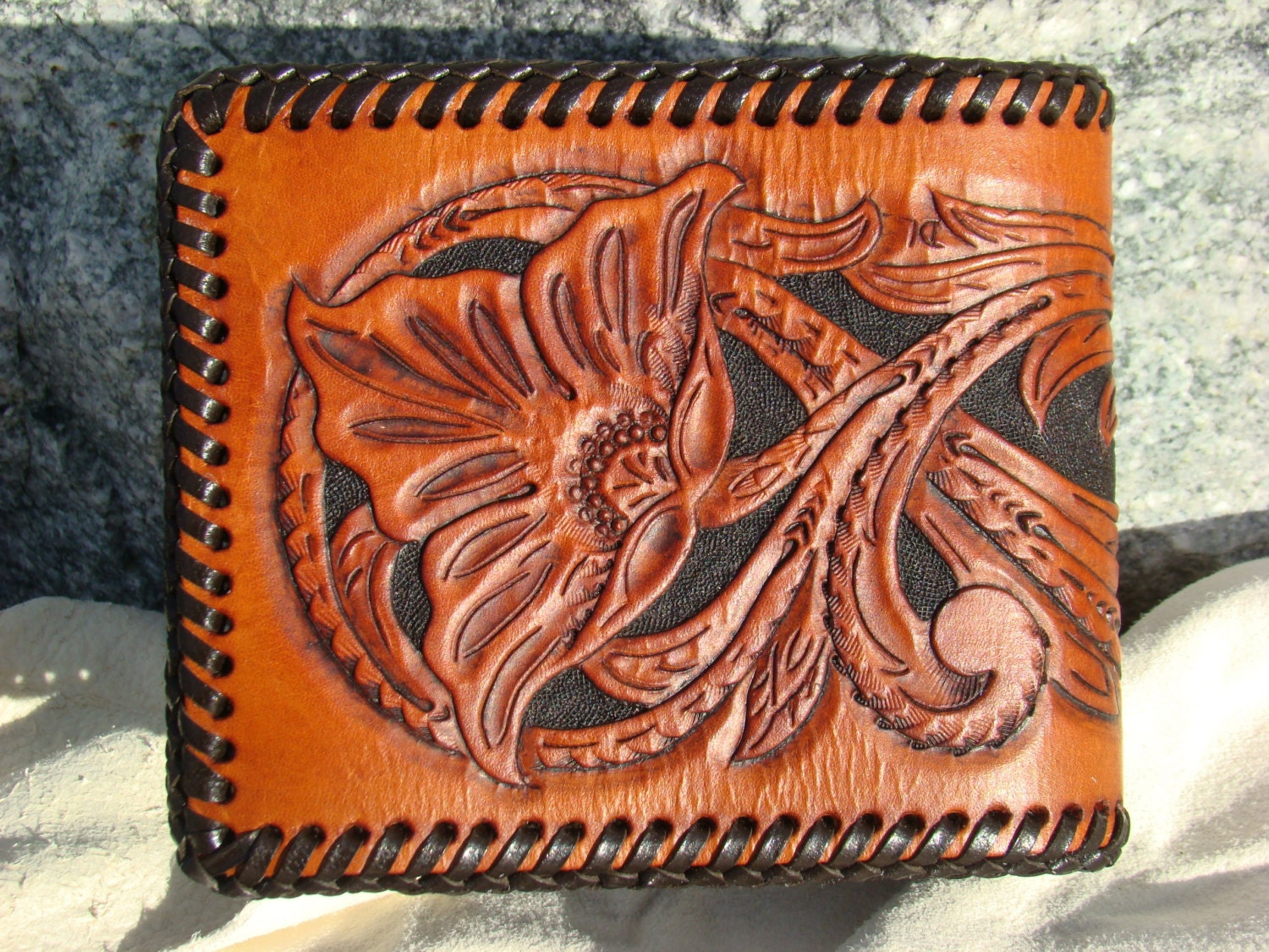 Floral hand carved leather wallet