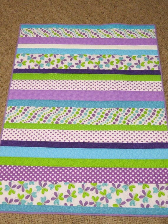 Floral Hearts Strip Quilt Baby Quilt Toddler Quilt Lap