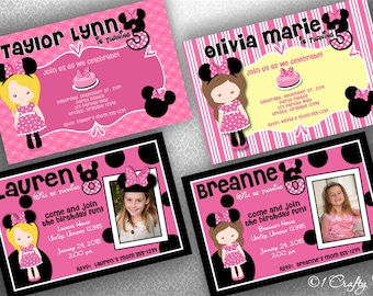 Minnie Mouse Birthday Invitation Photocard Digital Download: DIY Printable