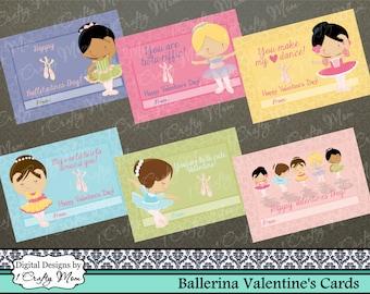 Ballerina Ballet Valentine Cards: Instant Download PDF- DIY Printable Valentines