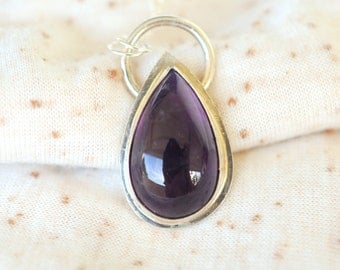 SALE //Tear drop AMETHYST sterling silver necklace / high shine finish / handmade jewelry