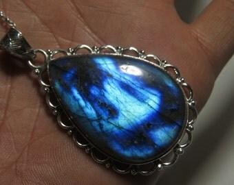 Labradorite pendant - Natural Blue Flashy Color Pendant Pear shape Pendant so Nice Blue Fire pendant Designer pendant