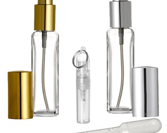 7.5ml Glass Fine Mist Atomizer Spray Bottle, with Gold or Silver Spray Caps, Funnel and Pipette, Refillable perfume bottles, Great Quality