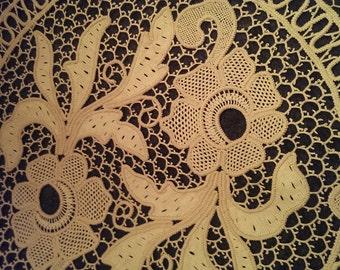Romanian Point Lace handmade macrame doily