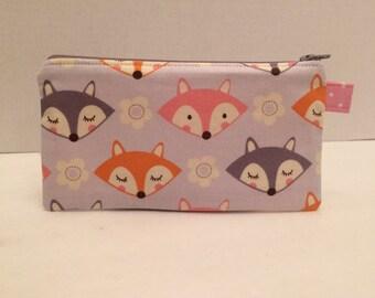 SALE - 20% off - Zipper Pouch - Feminine Fox