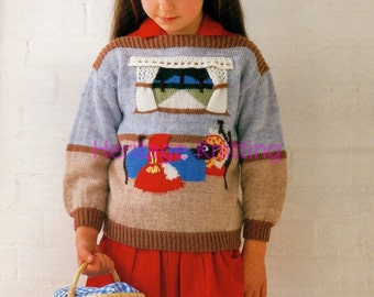 girls little red riding hood dk knitting pattern 99p