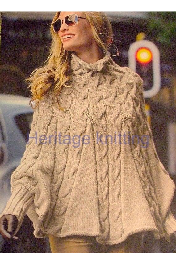 Knitting Pattern Aran Cape : womens poncho aran knitting pattern 99p pdf