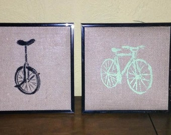 framed  bike art - set of 4