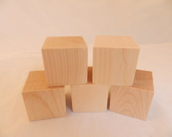 Wooden Blocks Unfinished Blocks for Crafts Set of FIVE 2 inch