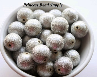 20mm Silver Metallic Wrinkle Chunky Beads Set of 10,  Bubble Gum Beads, Gumball Beads, Acrylic Beads
