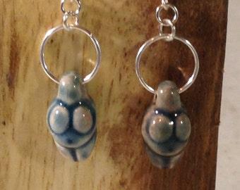 Blue Raku Goddess earrings