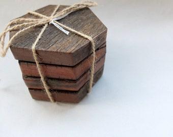 Wooden Hexagon Coasters | Set of Four