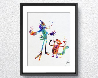 The Regular Show Mordecai Rigby Watercolor Print Super Heroe Wall Art Wall Decor Item 072