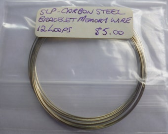 Silver plated carbon steel Bracelet Memory Wire 12 Loop pk (F0056)