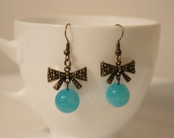 Earrings, blue Lagoon.