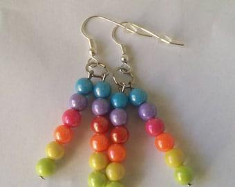 Beaded rainbow earrings