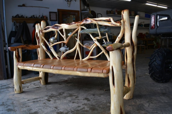 Items Similar To Hand Crafted Diamond Willow Bench With Black Ash And Maple Seat And