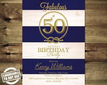 Nautical 50th Birthday Invitation - Adult Birthday Invitation - 21th - 30th - 40th - Bday_inv_039