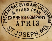 Vintage Pony Express Postmark - St Joseph, MO - Illustration Digital Image Download for Scrapbooking, Papercrafts, Transfers, Digital Art...