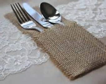 Set of 100 Burlap Silverware Pockets - Burlap Silverware