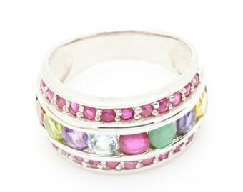 Ruby Emerald Garnet  Ring. 925 Silver. Size 5 3/4. TMPL_SKU002573
