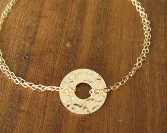 Gold bracelet, Gold filled Bracelet, Disc Gold Bracelet, chain bracelet, brushed gold delicate bracelet, bracelet gold 14k, bridesmaid gift