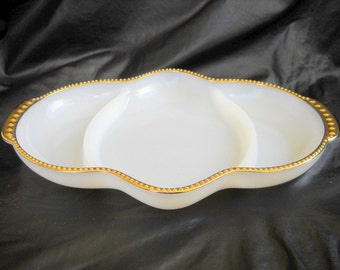 Beautiful Fire King, Relish Dish, Gold Trim, White Milk Glass, 1960's