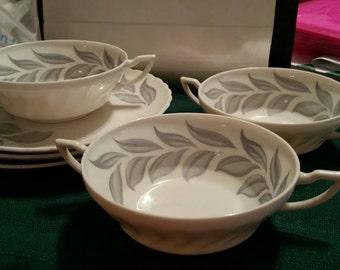 Syracuse China Dawn Cream Soup Bowls and Plates