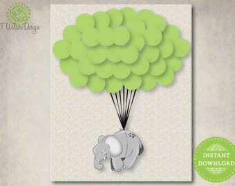 Elephant Floating on Balloons Guestbook for a Baby Shower- Instant Download
